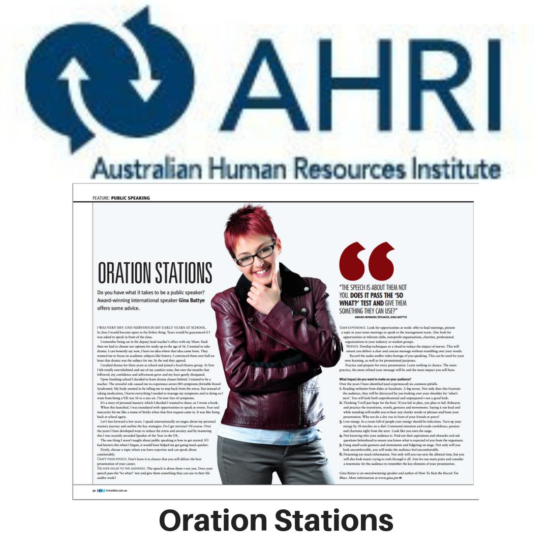HRM Magazine - Oration Stations - Gina Battye